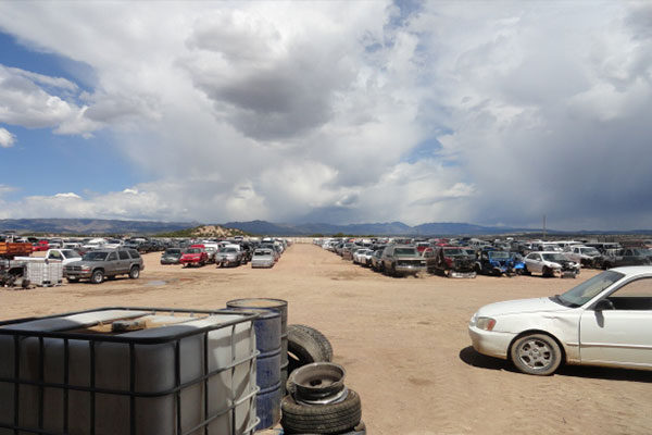 A view of the salvage yard at A-1 Auto and Truck Recyclers near Penrose, CO
